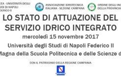 Convegno Nazionale sullo stato di attuazione del Servizio Idrico Integrato. Napoli 15.11.2017